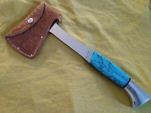 Western USA W10 Turquoise Handle Ax/Hatchet w/Sheath Gem!