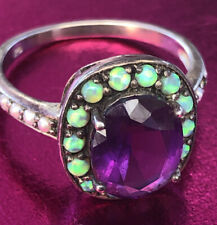 *Impressive Amethyst Opal & Pearl Cocktail Ring Set In Sterling Silver