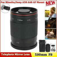 500mm F/8 Manual Focus Telephoto Mirror Lens for Minolta/Sony A58 A68 AF Mount