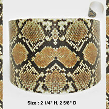 Statement Cuff Bracelet Metal Silver Black Brown Snake Skin Reptile Print Wide