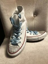 Converse All Star White Women's/Girls Diamonte Trainers UK5, 37.5