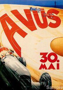 Vintage Avus Berlin Germany Motor Racing Poster Art Print A4