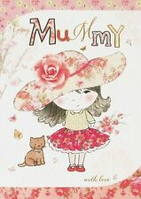"""Gold Mummy Birthday Card - Little Girl Wearing Big Pink Floral Hat 7.5"""" x 5.25"""""""