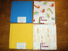 Four Assorted Fat Quarters~Blue Yellow Baby Bug & Baby Words