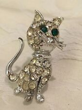 Rhinestone Cat Kitty Pin Brooch Green Eyes Long Tail Whiskers Vintage?