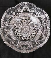 "ABP American Brilliant Cut Glass Crystal Bowl Sawtooth Edge 8"" Diameter"