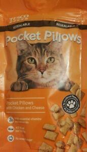 2 x Tesco Pocket Pillows Cat Treats 65g Chicken & Cheese Dreamies Felix Webbox