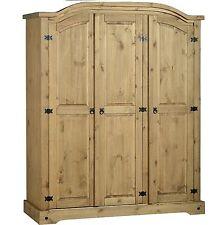 Corona 3 Door Arched Wardrobe Storage - Mexican Waxed Pine Bedroom Furniture
