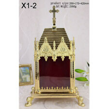 """Custom Ornate Gothic Reliquary for your Relic Pyramid-Shaped Roof Cross, 16.54""""H"""