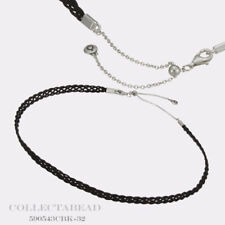 "Authentic Pandora Silver Black Woven Fabric Choker Necklace 12.5"" 590543CBK-32"