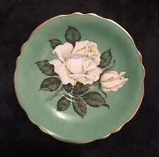 RARE Vintage Paragon China Green Ground Floating White Cabbage Rose Saucer