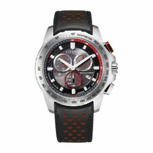 New Citizen Eco-Drive Chronograph Mens Black Leather Strap Watch BL5570-01E