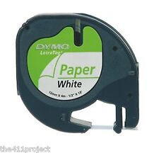 "Dymo LetraTag Refill Cartridge Tapes for Letra Tag & QX50 Label Maker 1/2"" PAPER"