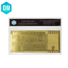 Oman 10 24k Gold Banknote Pure Gold Foil World Paper Money with Plastic Frame