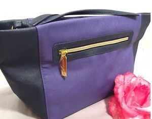 Lot of 2 Estee Lauder Signature Cosmetic Bag faux Leather Purple/Blue, Flexible