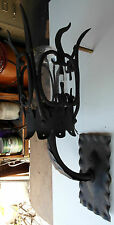 1920S STYLE BLACK OUTDOOR EXTERIOR WROUGHT IRON SPANISH REVIVAL WALL SCONCE LAMP