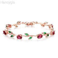 Rose Gold Plated Crystal Flower Leaf Design Colourful Party Gift Bracelet