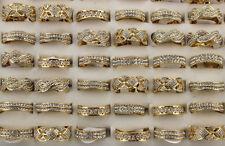 Job lots mixtes intégrale 30pcs cristal strass or P femme charme Top Bagues