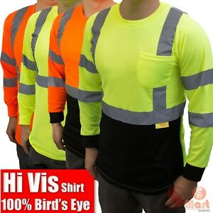 Hi Vis ANSI Class 3 Work Safety Men Long Sleeve Shirt High Visibility Reflective