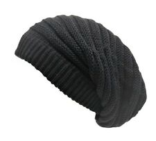 Rasta Beanie Hat Long Slouch Ribbed Dark Grey Baggy Marley Reggae Style