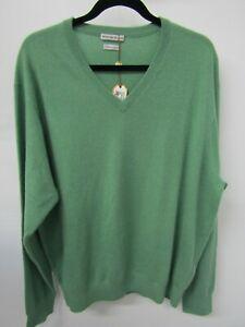 Peter Millar Men's Green Cashmere V-Neck Pullover Sweater Size