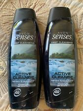 NEW Avon Senses 2in1 For Men Active Cleanse Hair & Body Wash 500mlX2