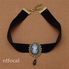 Gothic Victoria  Pretty Head Necklace Black Ribbon Chocker Vintage  Elegant Gift