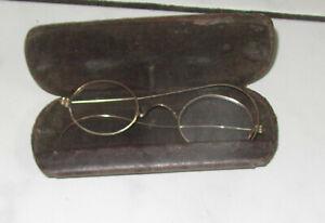 Antike alte runde Nickelbrille mit Gespinstbügel Metall Antike Brille 1900 RAR