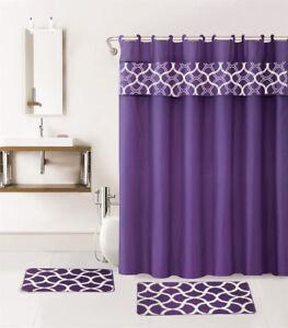 GEOMETRIC NEW PRINT DESIGN BATHROOM SET BATH MATS RUG SHOWER CURTAIN LID COVER