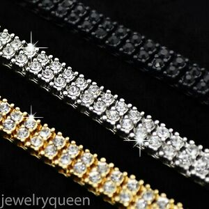 14K White Gold Onyx 2 Row  Tennis Chain Choker Clear CZ Stone Men HipHop