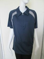 KARIBAN SPORT - BLUE/GREY,  ZIP NECK POLO SHIRT ,SIZE LARGE 100% POLYESTER