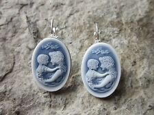 MOTHER AND CHILD CAMEO SILVER FRENCH EARRINGS - WONDERFUL QUALITY - MOTHER'S DAY