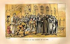 """Dr. Syntax in Search - """"AT THE FUNERAL OF HIS WIFE"""" - Chromolithograph - 1869"""