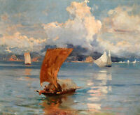 HAND PAINTED Oil painting ARTseascape sail boat on ocean in sunset only canvas