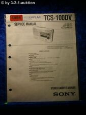 Sony Service Manual TCS 100DV Cassette Corder (#4084)