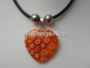 MILLEFIORI Murano Flower Glass 20mm HEART Orange Pendant Necklace Jewellery