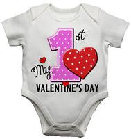 My First Valentine's Day divertidos para bebé/bebé Camiseta Recién nacido Body/
