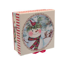 BELLA scatola regalo di Natale Pupazzo di Neve & RED RIBBON. dimensioni: 5.5cmx13.5cmx13.5cm-GBS43