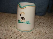 """Paestum Italy Pitcher Hand Painted 5"""" Tall Signed on Bottom"""