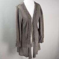 Per Una Knit Cardigan Size 12 Long Line Metallic Thread Open Wavy Knitwear