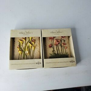 Cheri Blum Wall Plaques - Lot of 2 - 3D Indoor / Outdoor Decor Lily and Poppy
