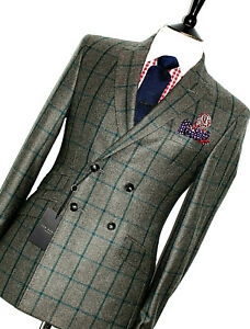 BNWT MENS TED BAKER LONDON BESPOKE 1940S INSPIRED BOX CHECK TWEED SUIT 38R W32