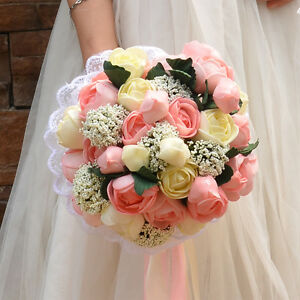 New Artificial Satin Mixed Roses Bridal Bouquet Wedding Bride/Bridesmaid Flowers