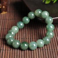 12mm Natural Nephrite Green Jade Round Gemstone Beads Bracelet Bangle 7.5'' AAA