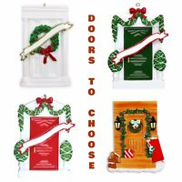 House Red Green White Front Door Wreath Personalized Christmas Tree Ornaments
