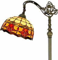 Floor Lamp with Stained Glass Lampshade Red Tulip Design