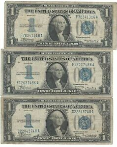 3 Series 1934 $1 Silver Funny Back Silver Certificates