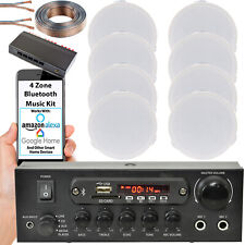 Bluetooth Techo Música Kit-4 Zona Amplificador Estéreo & 8x Flush Mini Altavoces