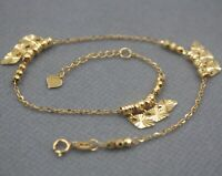 "Real 18K Yellow Gold Anklet For Woman Carved Bead Slice O Link Girl Chain 9.5""L"