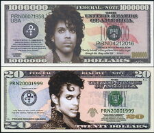 PRINCE ROGERS NELSON COMMEMORATIVE NOVELTY BILLS: $1,000,000 & $20 - CRISP NEW!
